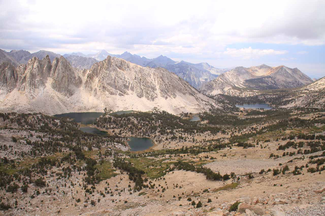 The whole panorama looking towards the Kings Canyon side from Kearsarge Pass
