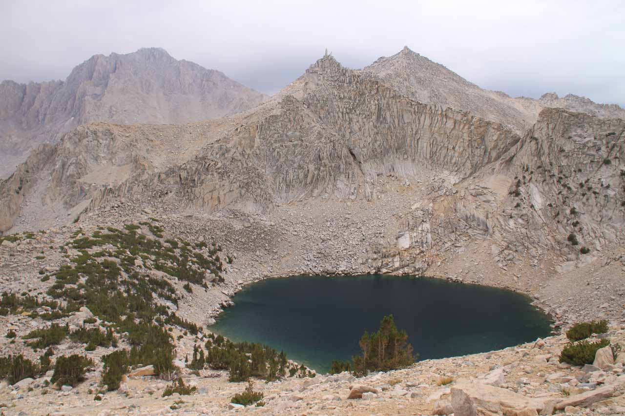 Looking down at Big Pothole Lake as we were making our way back down