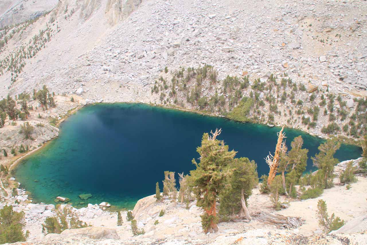 Looking down at Heart Lake appearing to be more colorful than it was this morning