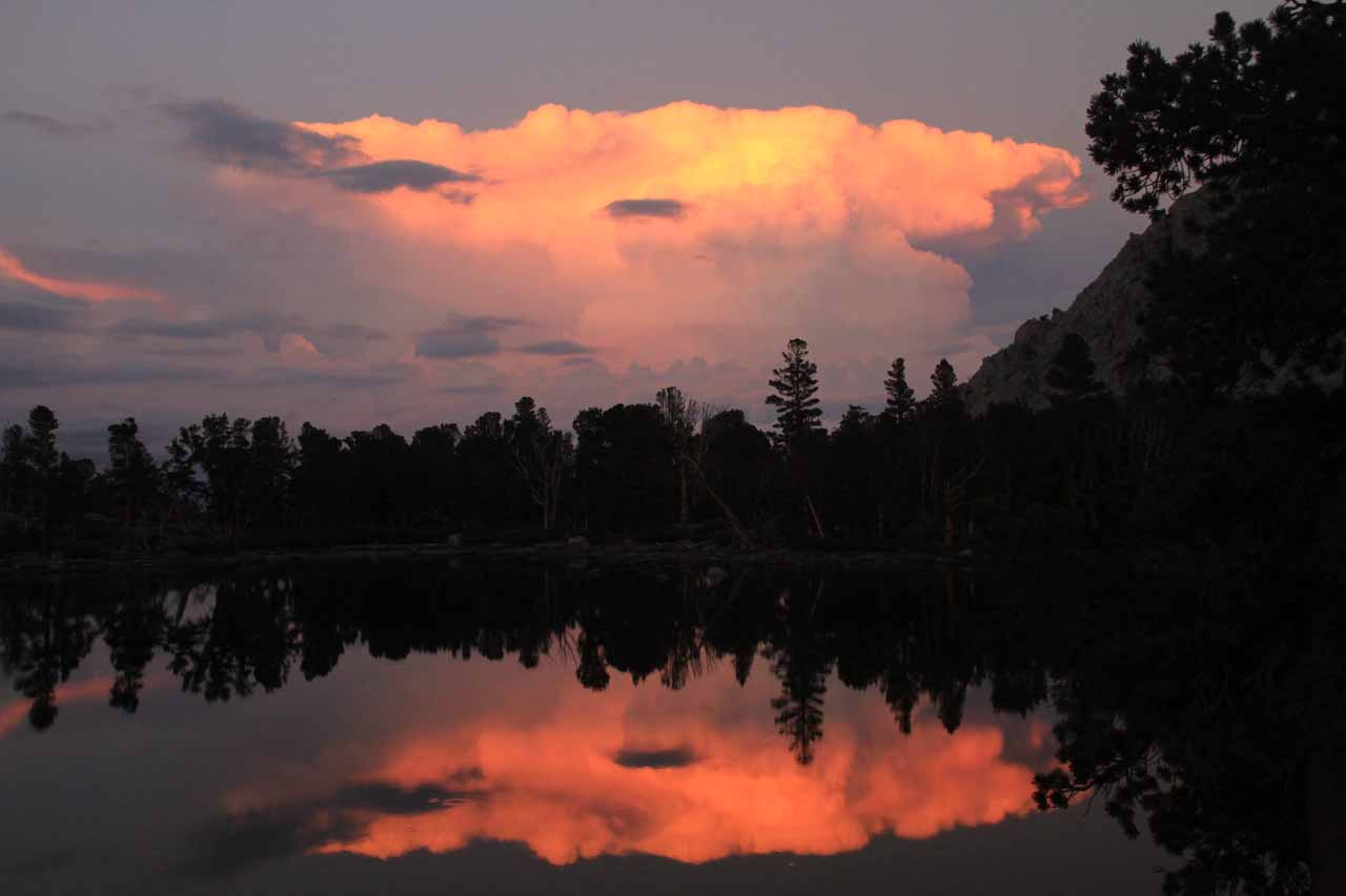 Alpenglow-tinged thunderclouds in the late afternoon