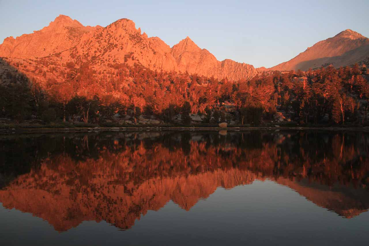 Another reflective pond shot of peaks overlooking Bench Lake and Kearsarge Pass in the distance