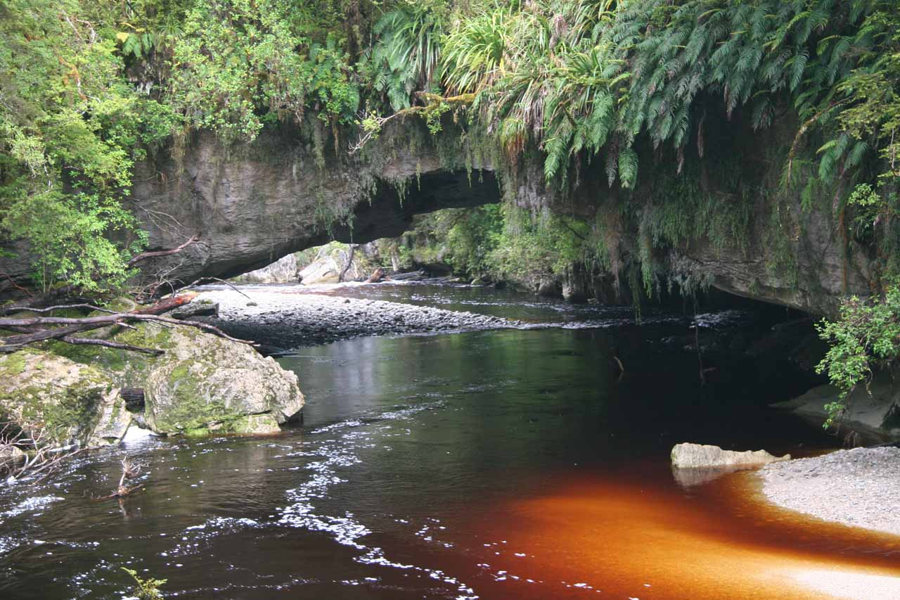 To the northwest of Maruia Falls (going west to Westport, then north to Karamea) was the Oparara Basin and its bloody-red watercourses beneath natural arches like this one