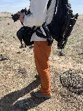 Orange_Hiking_Pants_Demo_001_iPhone_04022021 - Julie examining my Outdoor Research hiking pants