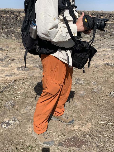 This is me hiking in my rather comfortable and lightweight Outdoor Research Ferrosi hiking pants. Notice the size of the pocket, where my wallet is making it bulge
