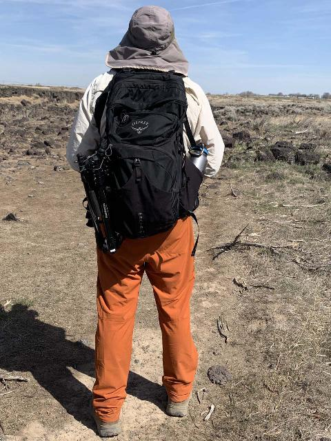 Julie took this picture of me hiking in an orange pair of Outdoor Research Ferrosi pants while on a hike in Idaho