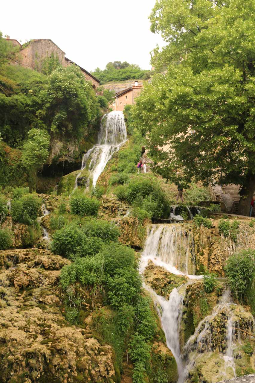 Looking up at the waterfall flowing beneath the town of Orbaneja del Castillo