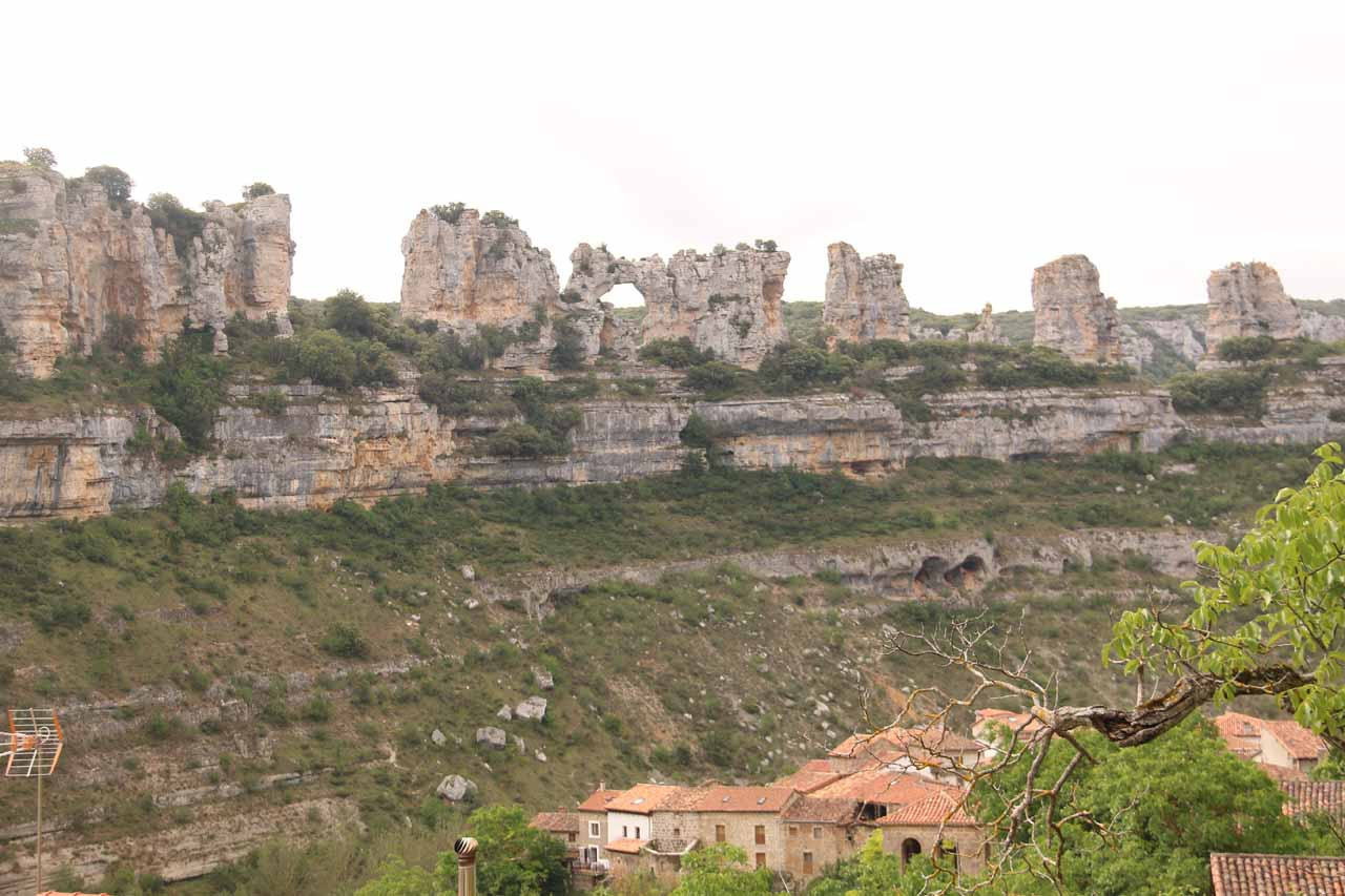 Closer look at the natural arch amongst the cliff formations across the Orbaneja del Castillo
