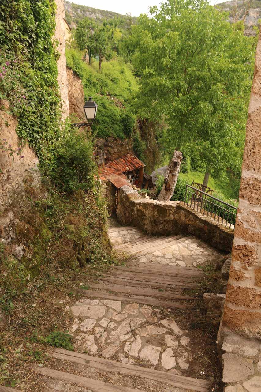Going back down the steps towards where we parked the car beneath Orbaneja del Castillo