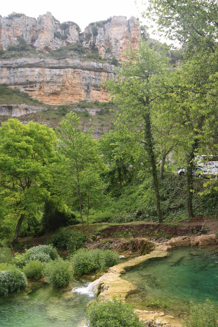 Looking down at travertine pools seen from the bridge beneath Orbaneja del Castillo