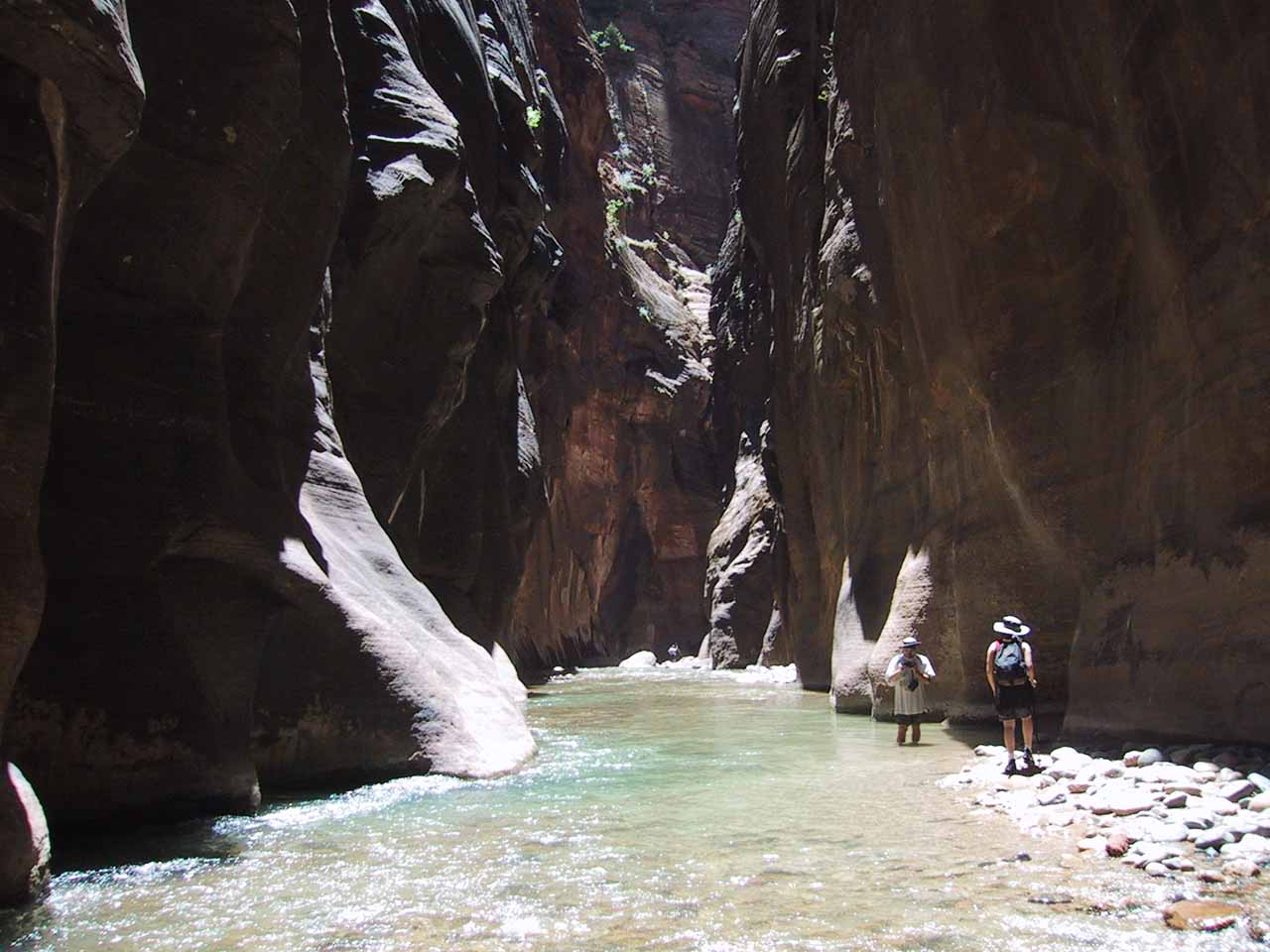 Going back downstream along the Virgin River after leaving Orderville Canyon in 2001