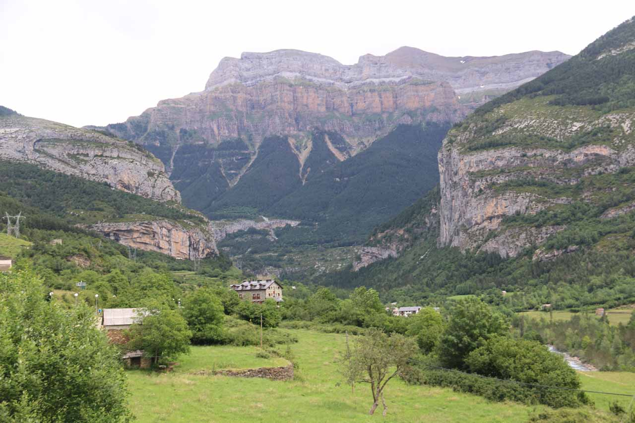 This was the view towards the gorgeous cliffs of the Ordesa Valley seen from the charming town of Torla