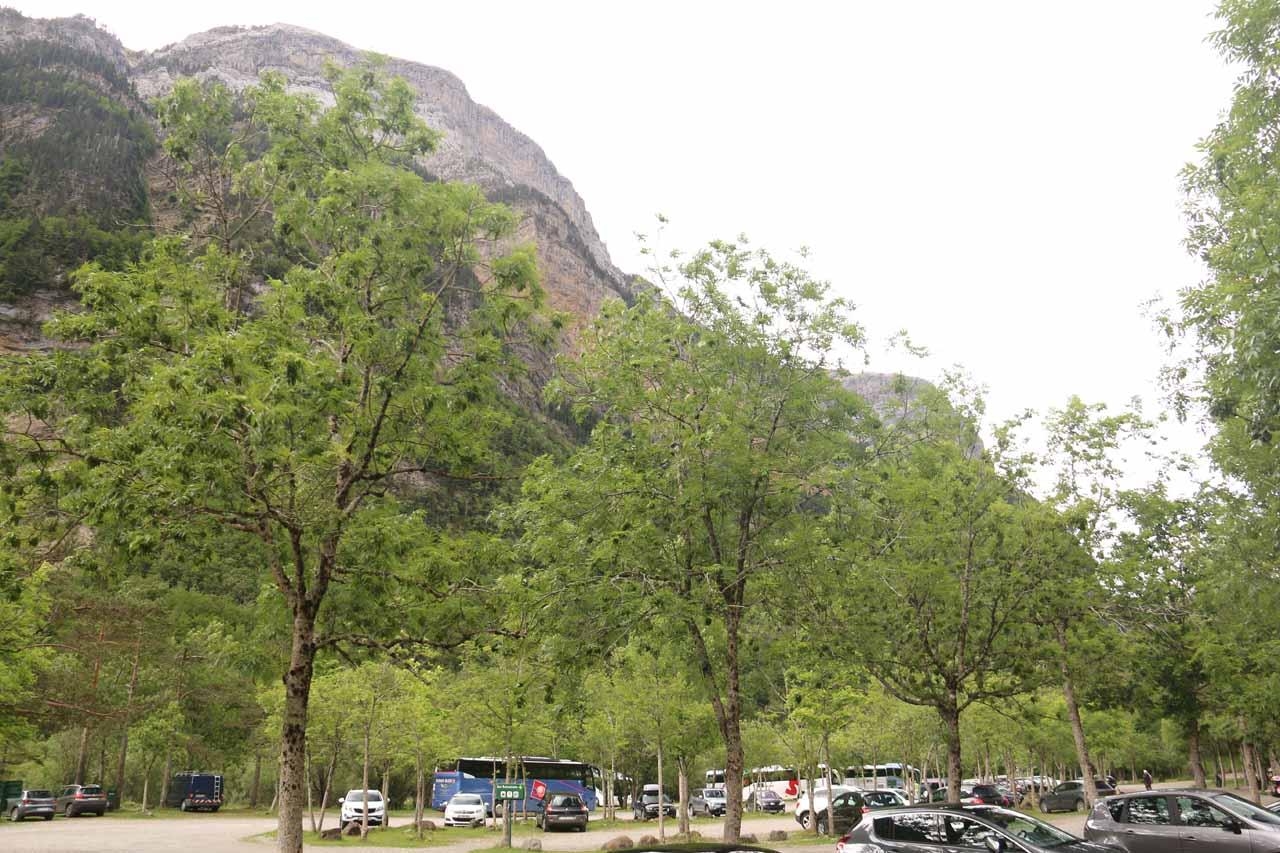 At the car park of Pradera de Ordesa at the end of the A-135 road