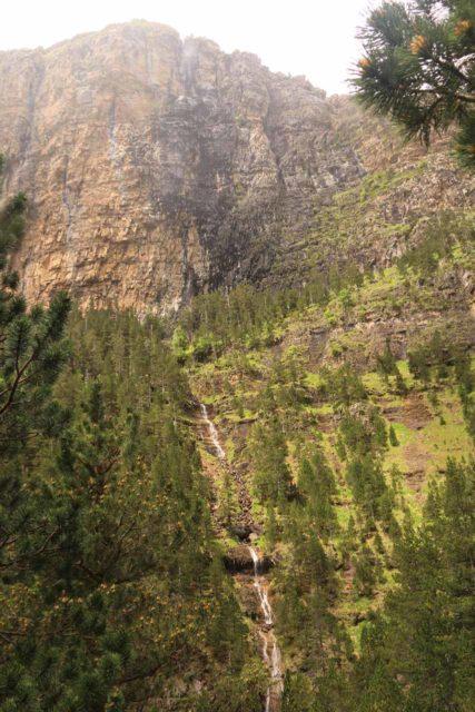Ordesa_134_06162015 - While scrambling to a better view of the Cascada de Cotatuero, I noticed this side waterfall tumbling down the cliffs harboring the Faja Racón, Circo de Carriata, and Clavijas de Cotatuero