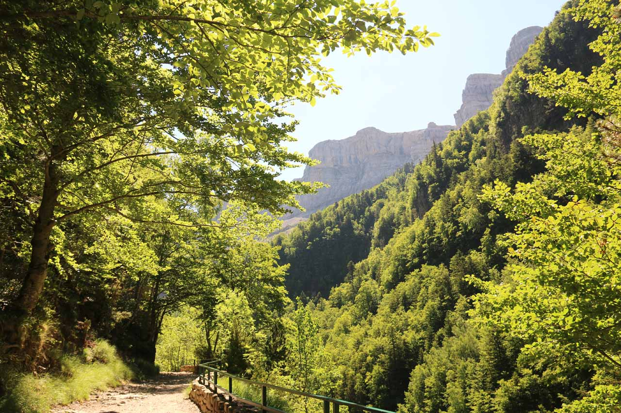 As the trail became sunnier, I started to see more cliffs towering above the Ordesa Valley