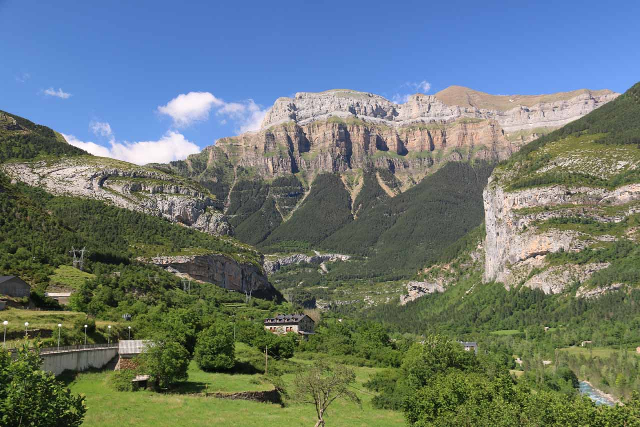 This was the view towards the gorgeous cliffs of the Ordesa Valley seen from the charming town of Torla on a beautiful day after I was done with the Cola de Caballo hike