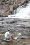 Orinduik_Falls_083_08312008 - Julie enjoying the soak near the base of the far right side of Orinduik Falls
