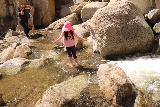 Ortega_Falls_056_03172019 - Tahia wading in the plunge pool and creek beneath Ortega Falls in mid-March 2019