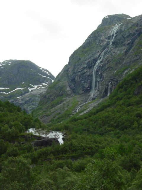 Osa_004_06262005 - Context of Kyrfossen with Røykjafossen below it. This was when we were well into the valley beyond the head of Osafjorden