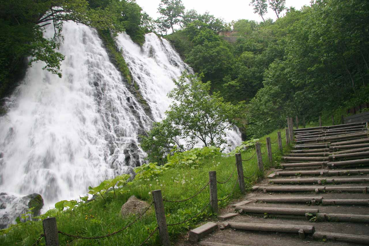 The stairs next to the falls