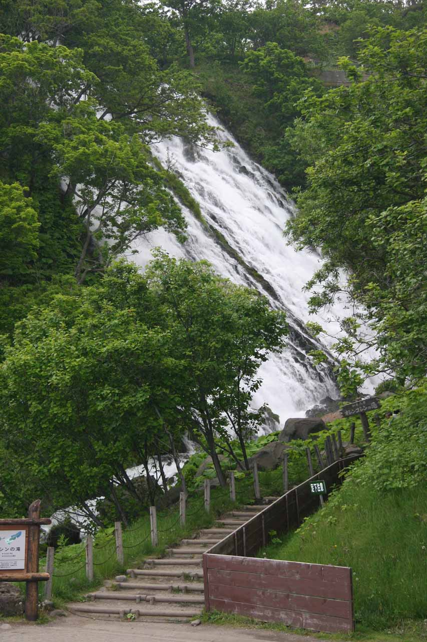 Looking back at the steps and part of the Oshinkoshin Waterfall from across the highway
