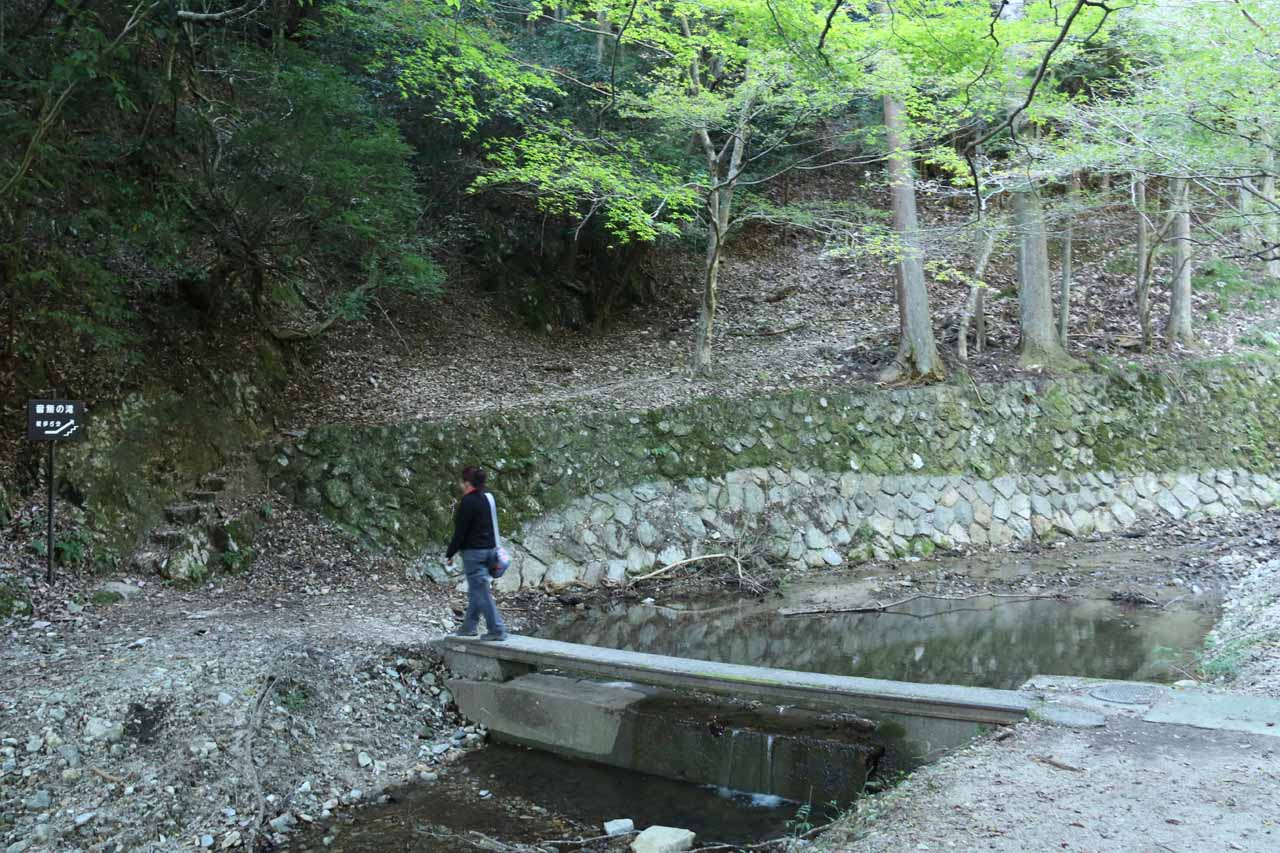 Mom crossing over a bridge to get to the other side of the stream responsible for the Otonashi Waterfall