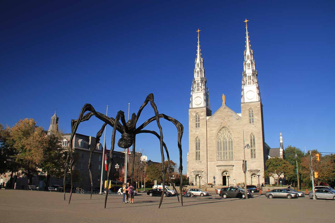 The spider fronting the Museum of Fine Arts and the Notre Dame Cathedral