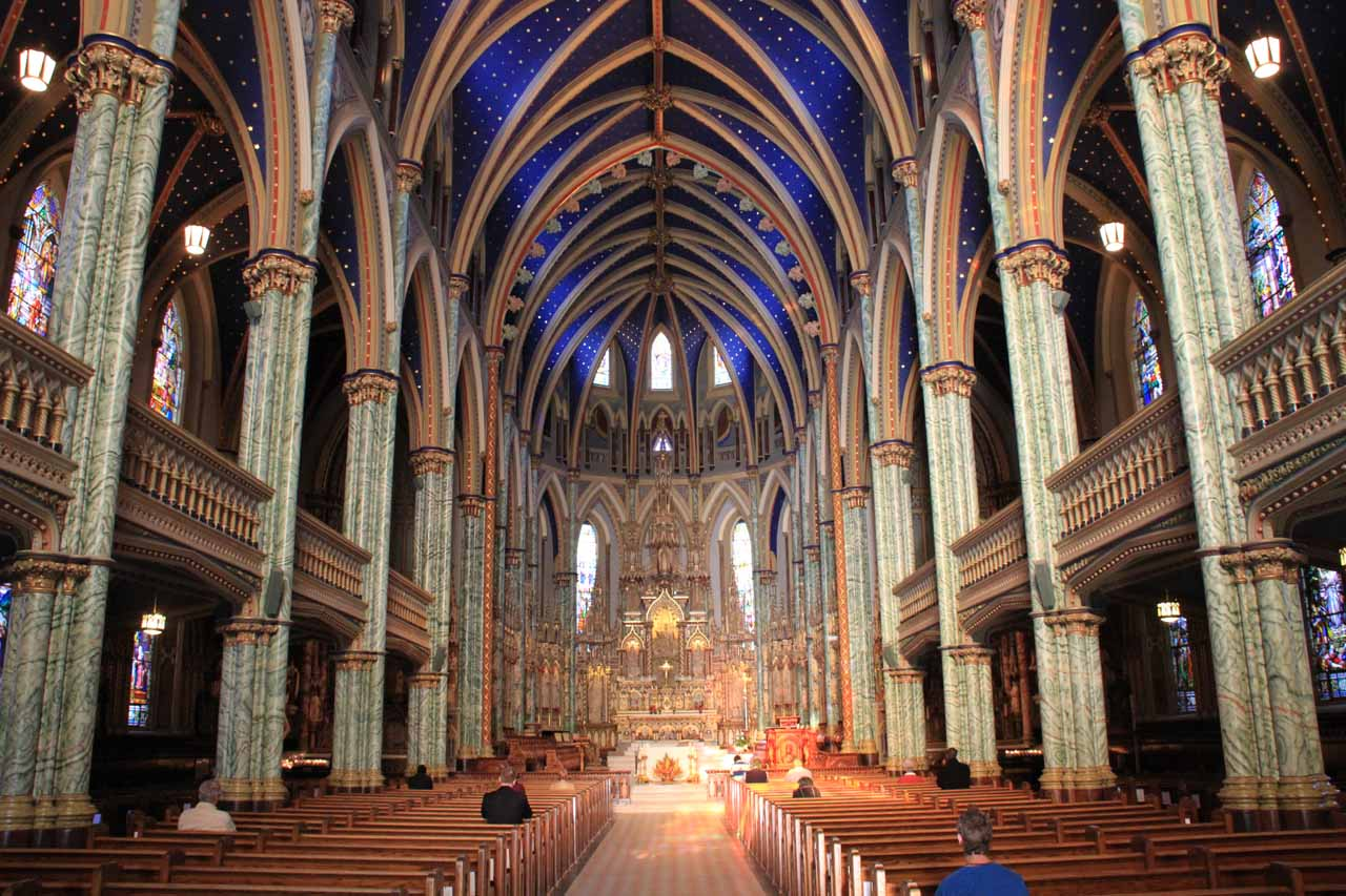 Inside the Notre Dame Cathedral in Ottawa