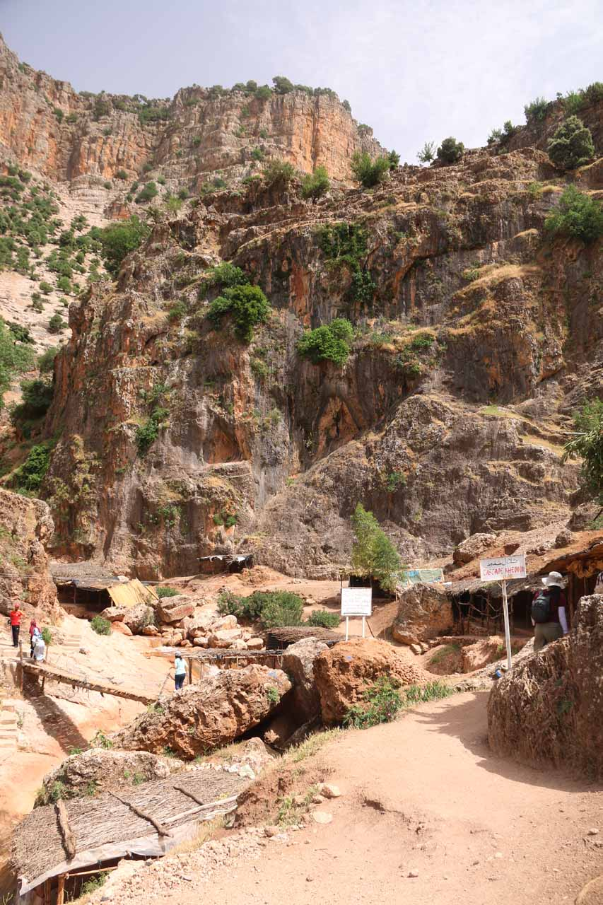 At a point where the landscape started to dominate more than the village structures. One of the white signs shown here had the words 'Cascade Khedoud'