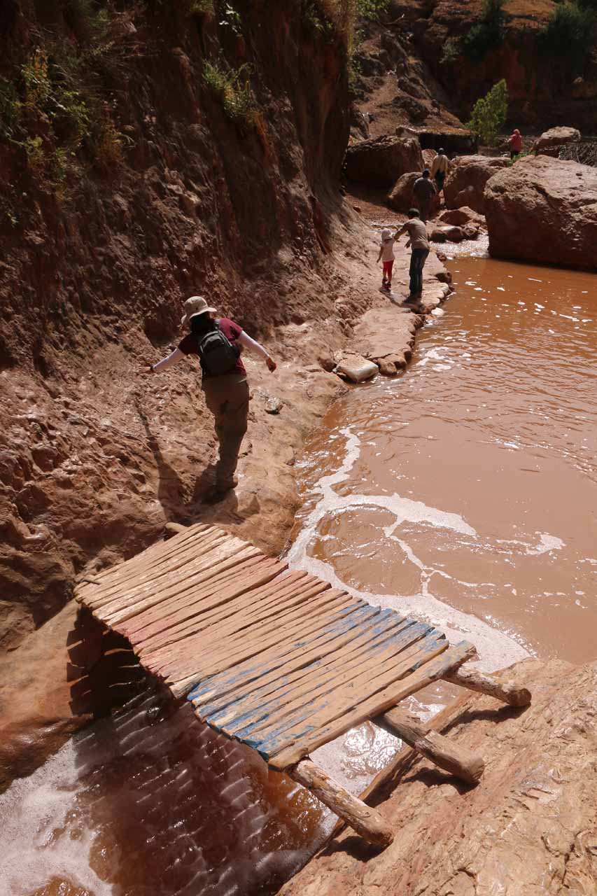 Crossing back over the footbridge where we paid a Berber local a modest sum of dirhams