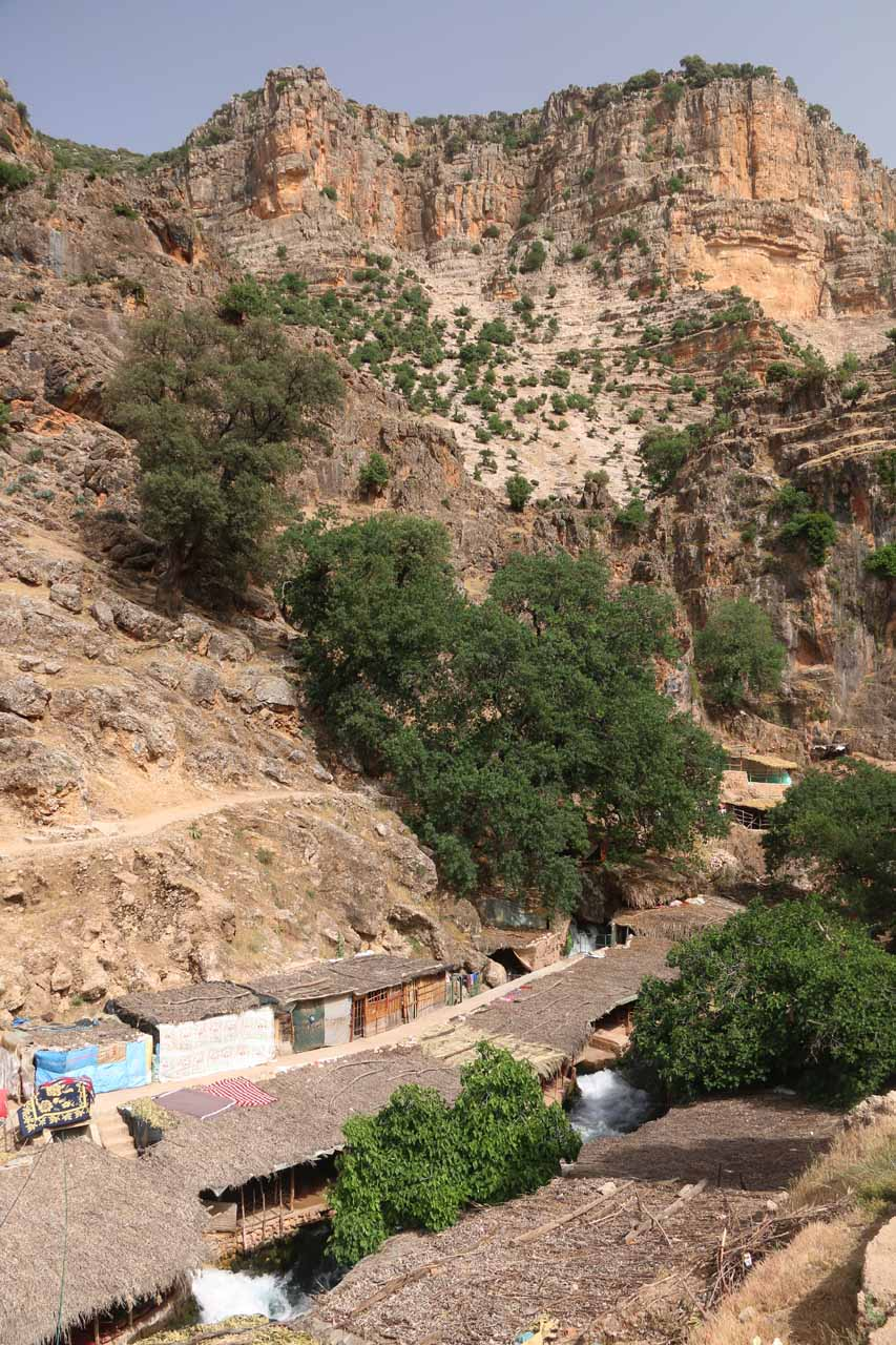 Context of the village we lingered at for lunch with the Oum er-Rbia River gushing below and the picturesque cliffs towering above