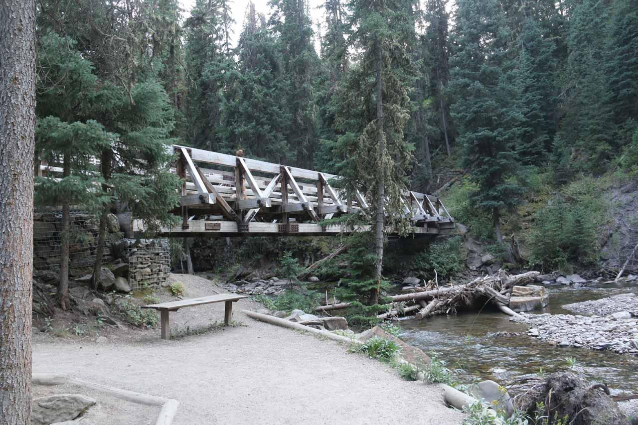 Going across the last of the footbridges