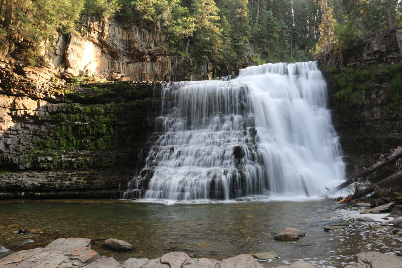 Looking right at Ousel Falls from its base