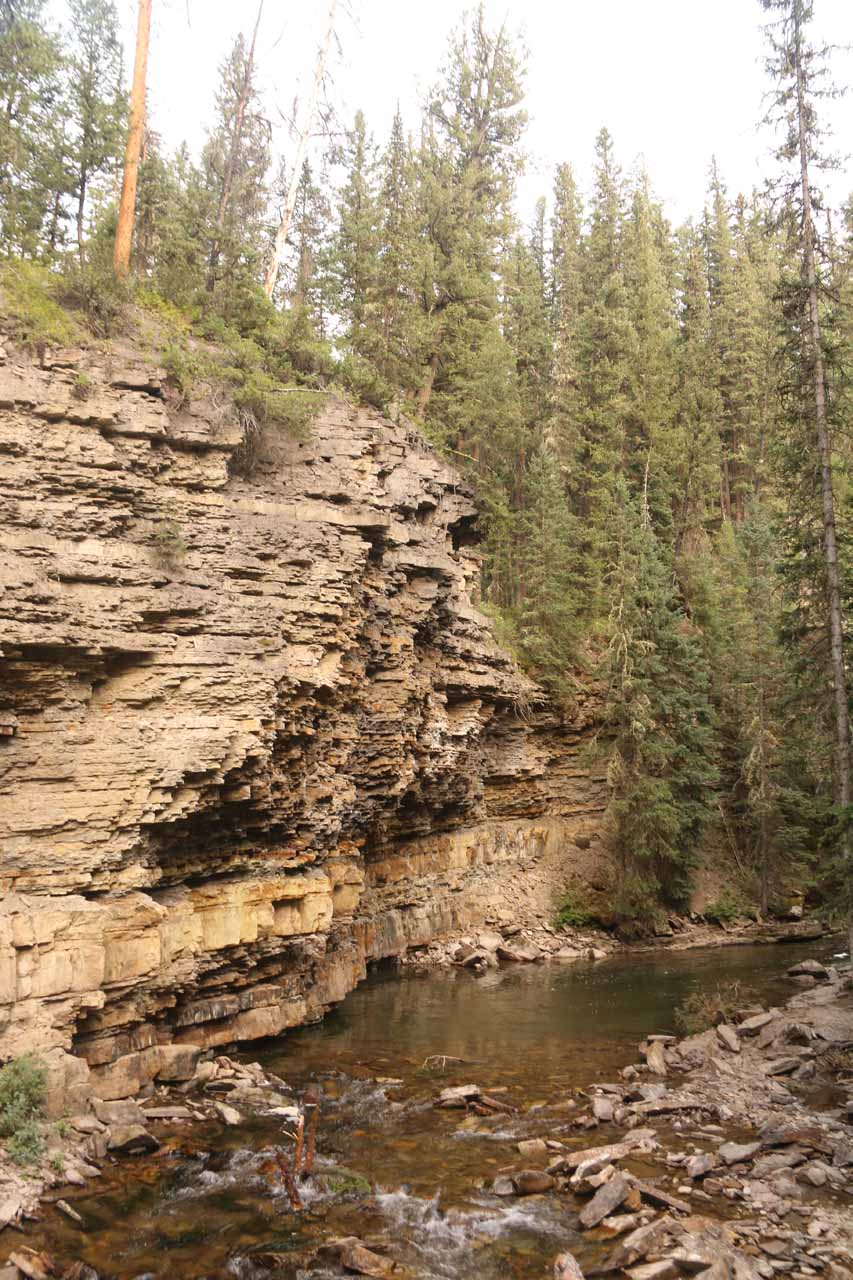 Looking downstream from the second crossing of the South Fork of the West Fork of the Gallatin River, where these interesting cliffs were revealed