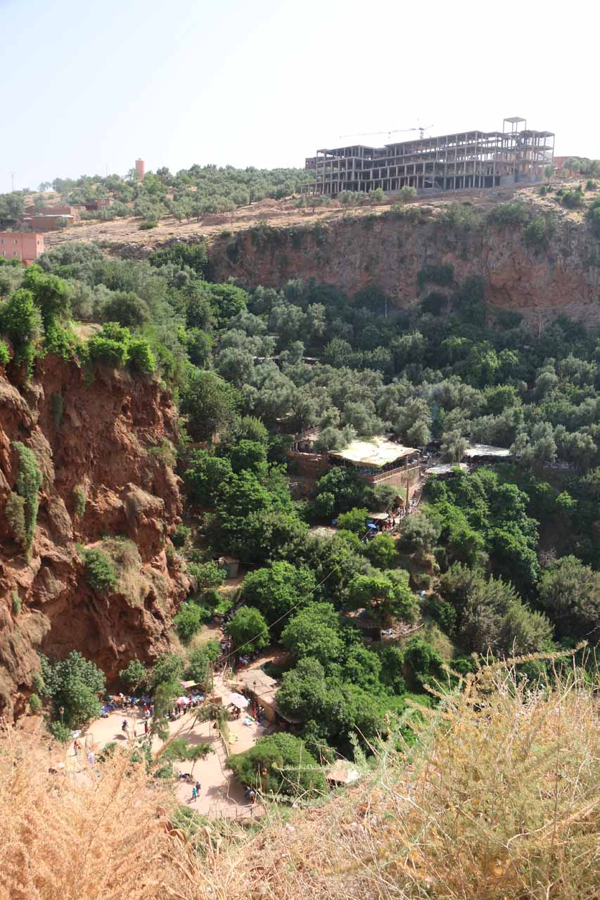 Looking across Wadi el-Abid towards an unfinished hotel