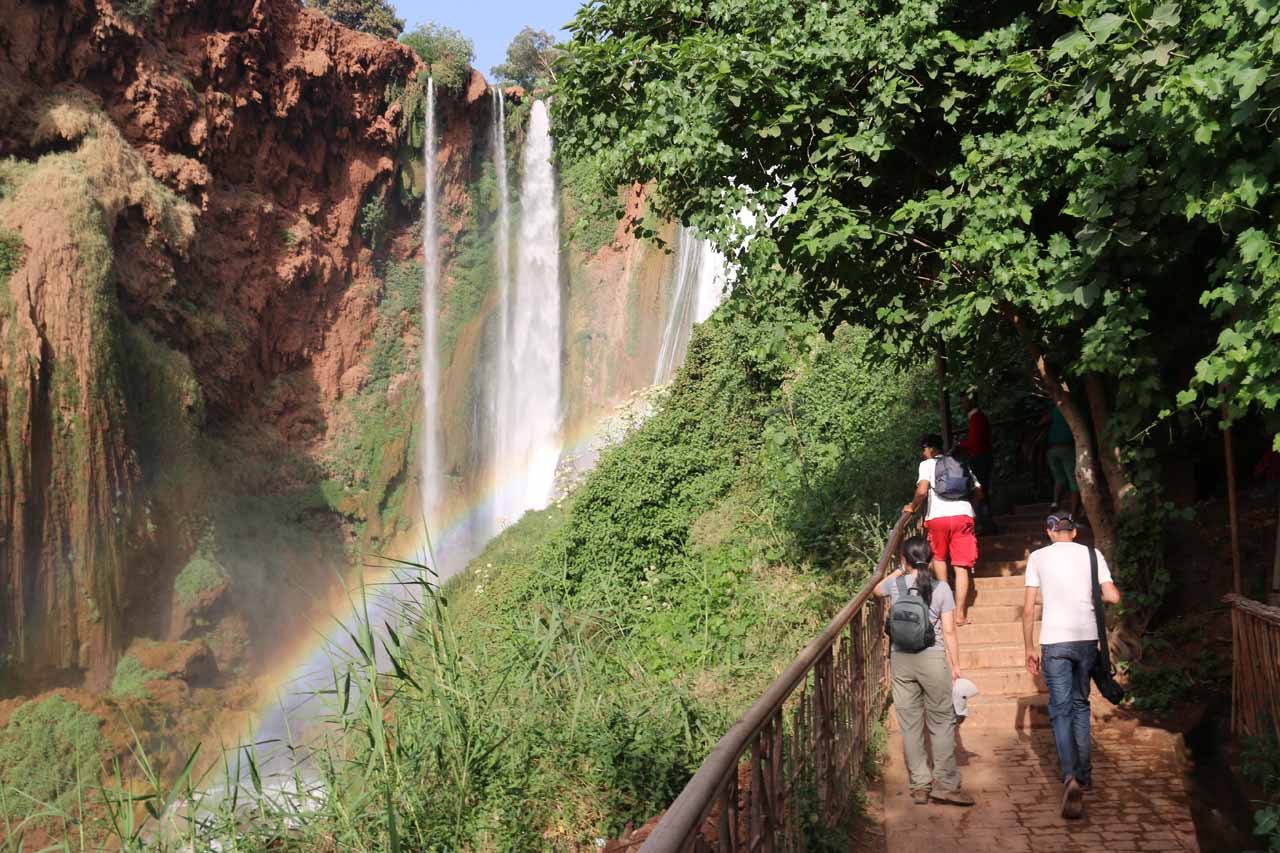 Continuing to walk alongside Cascade d'Ouzoud and rainbows