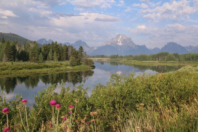 Oxbow_Bend_17_019_08132017 - Another popular view of the Grand Teton Range was from the Oxbow Bend near the Moran Junction, where it was possible to see Mt Moran reflected in the Snake River