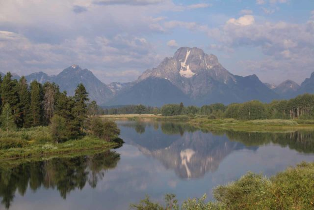 Oxbow_Bend_17_033_08132017 - In about a half-hour drive south of the South Entrance of Yellowstone National Park was the Grand Teton National Park, where we got this nice view of Mt Moran from Oxbow Bend