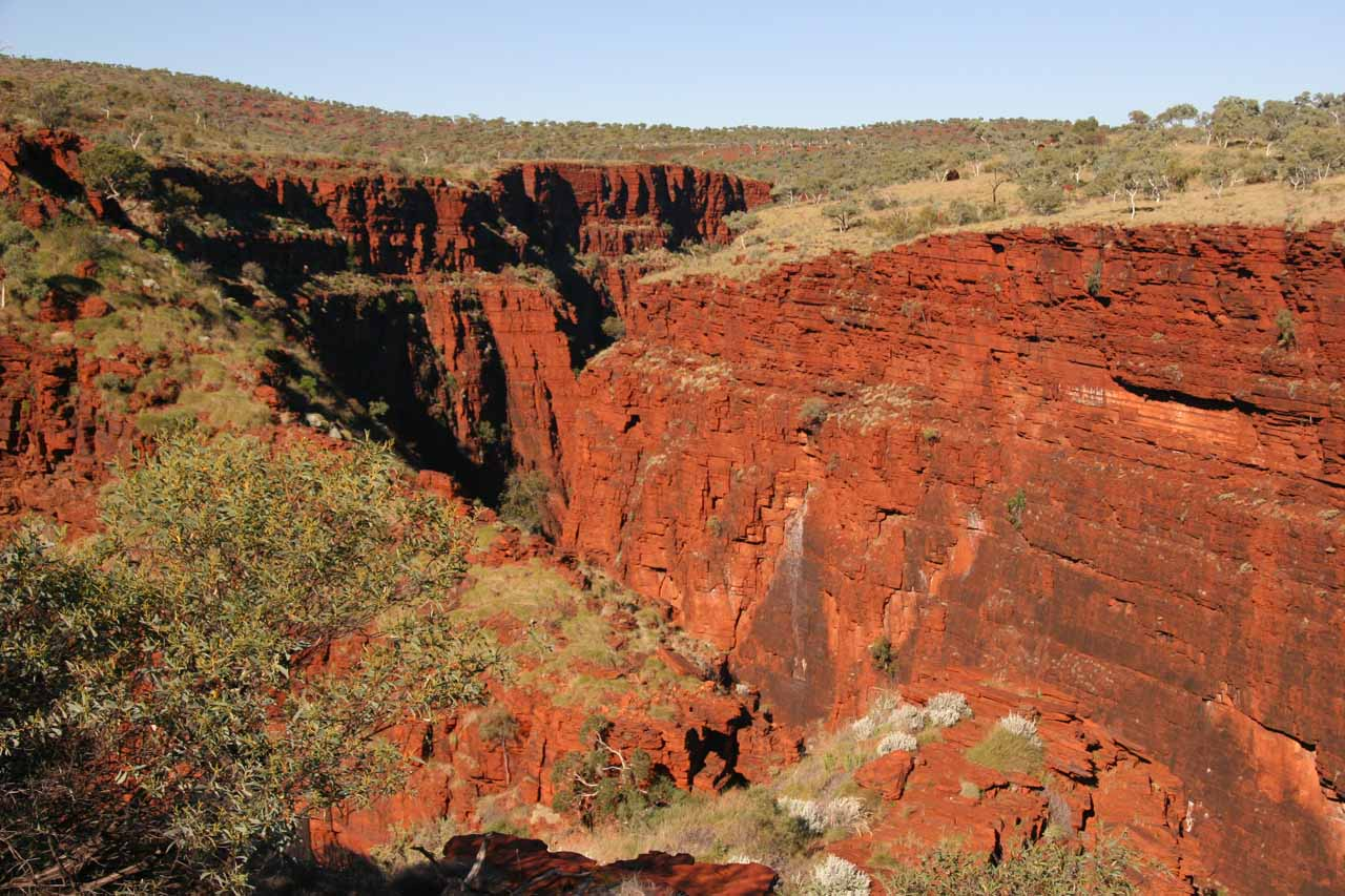 One of the red gorges as seen from the Oxer Lookout
