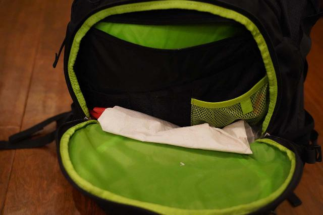 Looking right into the front zippered compartment of the Osprey Ozone 46