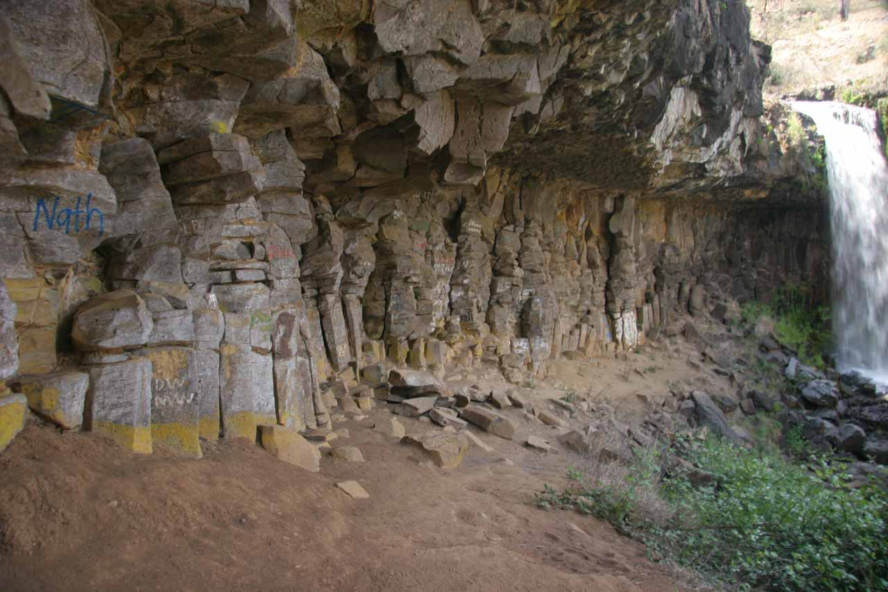 Context of the graffiti-laced alcove behind Paddys River Falls