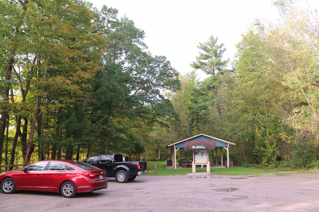 The car park and picnic area for Paine Falls Park