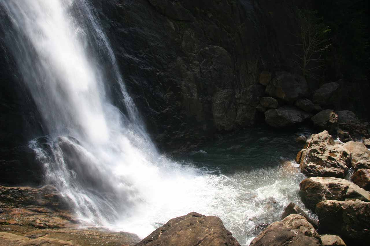 Looking down towards the base of Palaruvi Falls near the closed men's only area