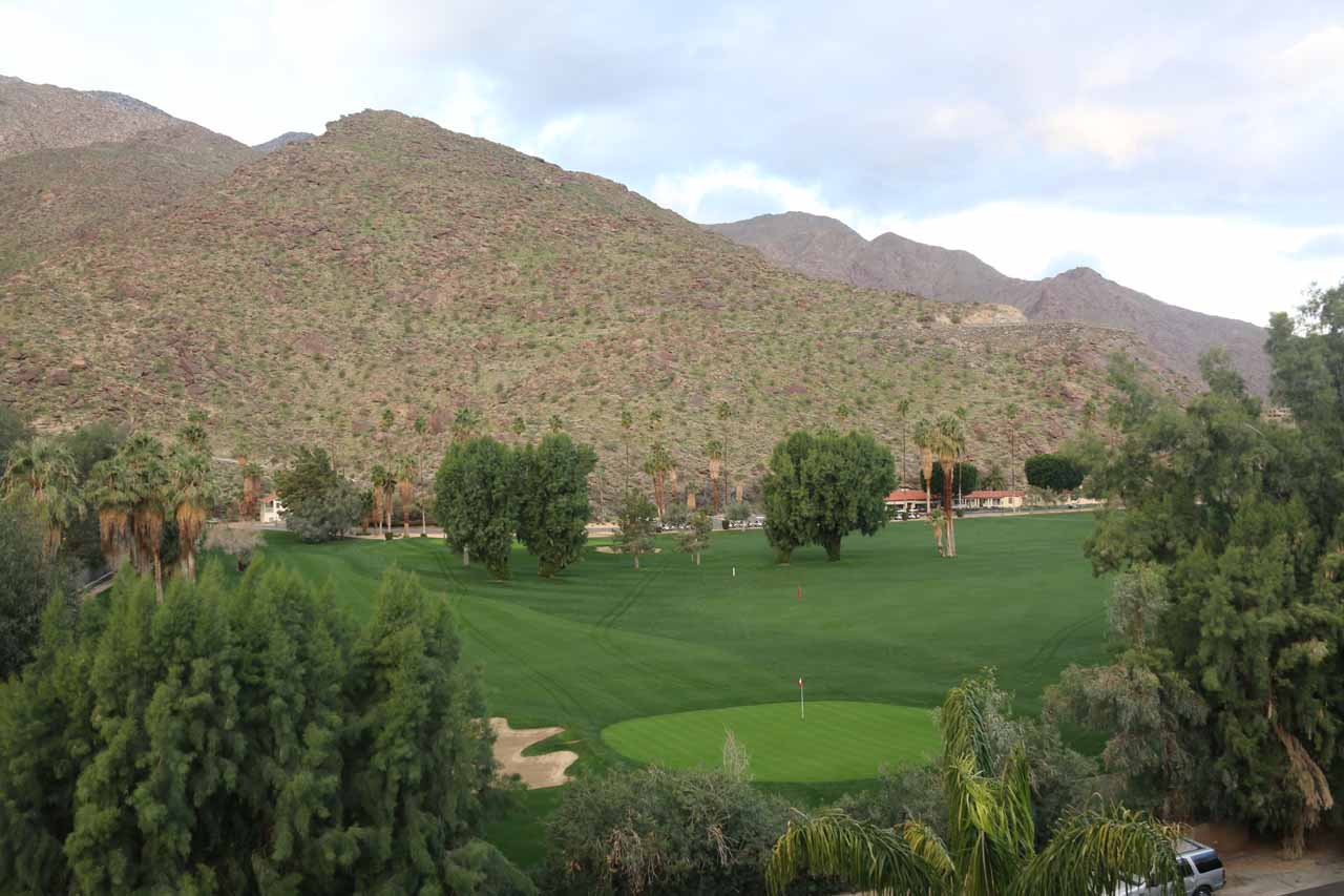 Checking out the golf course backed by the San Jacinto Mountains to the right side of our balcony