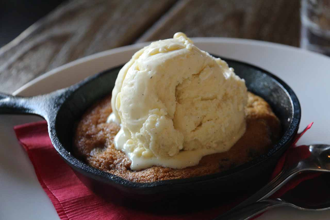 My indulgent dessert of chocolate-chip cookies with a scoop of ice cream a la BJ's style