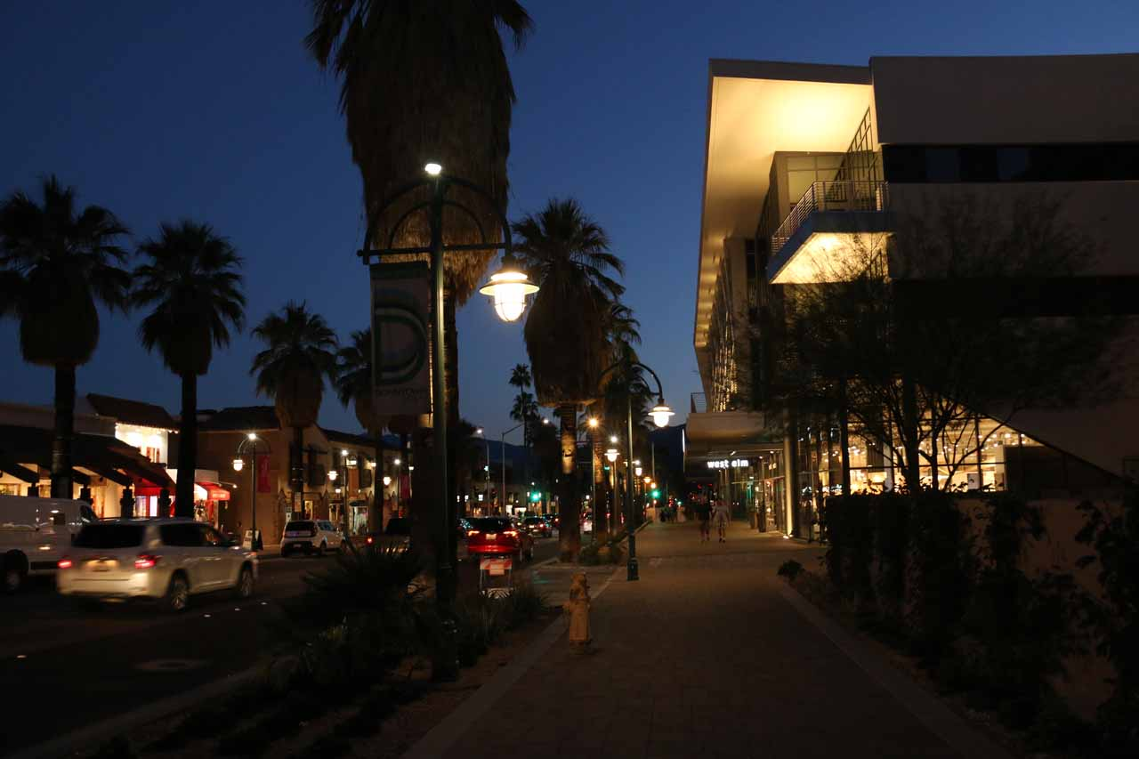 Twilight in downtown Palm Springs