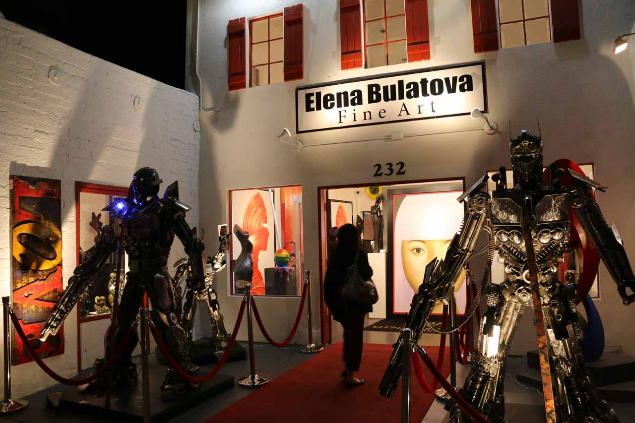 Julie about to enter the Elena Bulatova Fine Art Exhibit in Palm Springs