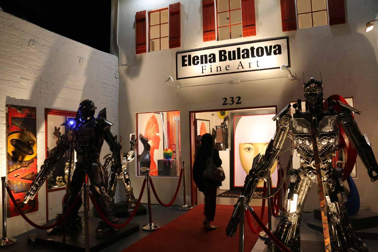 Julie about to enter the Elena Bulatova Fine Art Exhibit in Palm Springs
