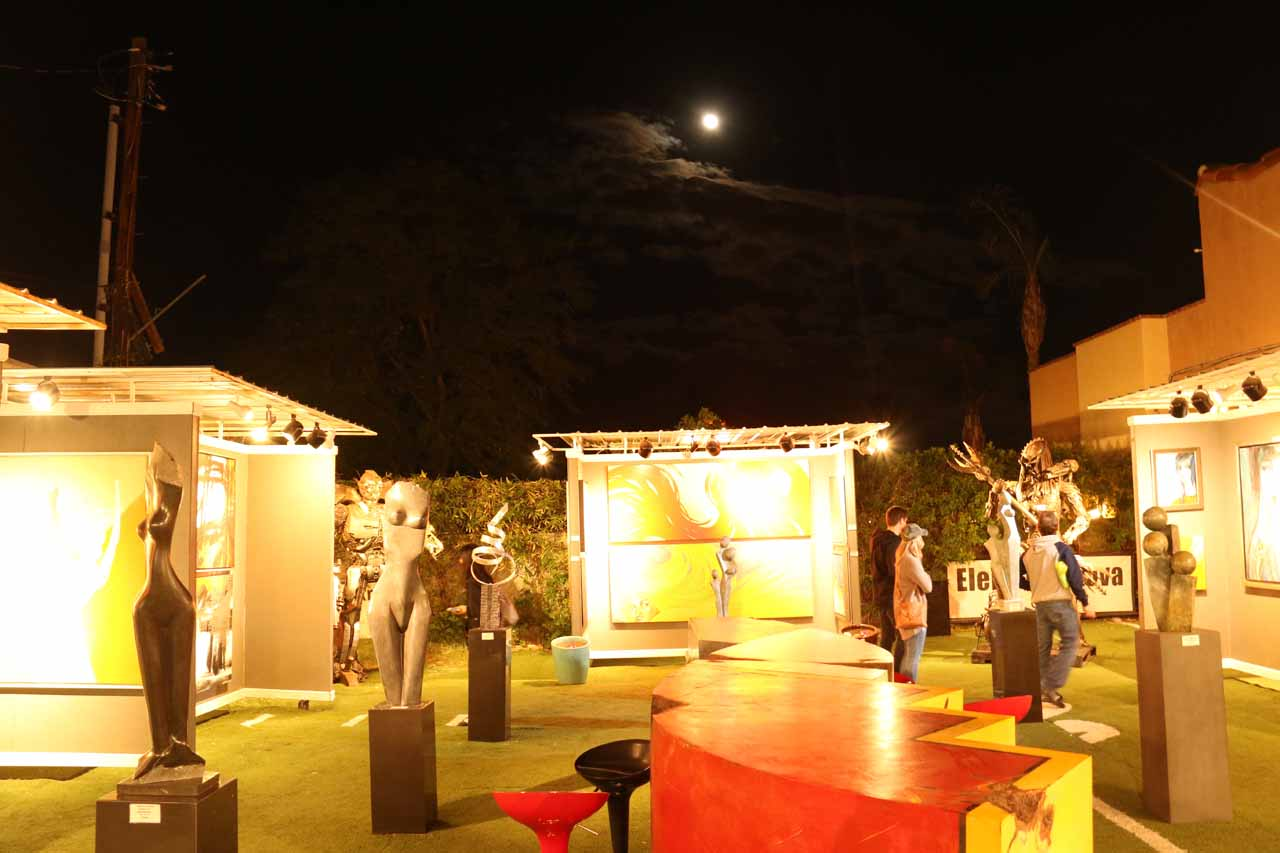 Last look at the garden area of the Elena Bulatova Exhibit in Palm Springs under the full moon