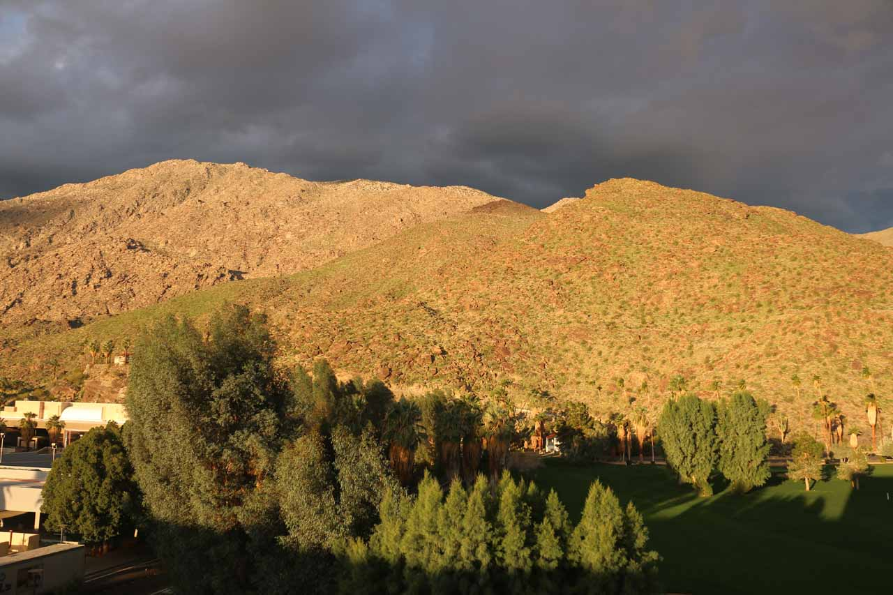 The morning glow on the San Jacinto Mountains as seen from the balcony of our room at the Hyatt in Palm Springs