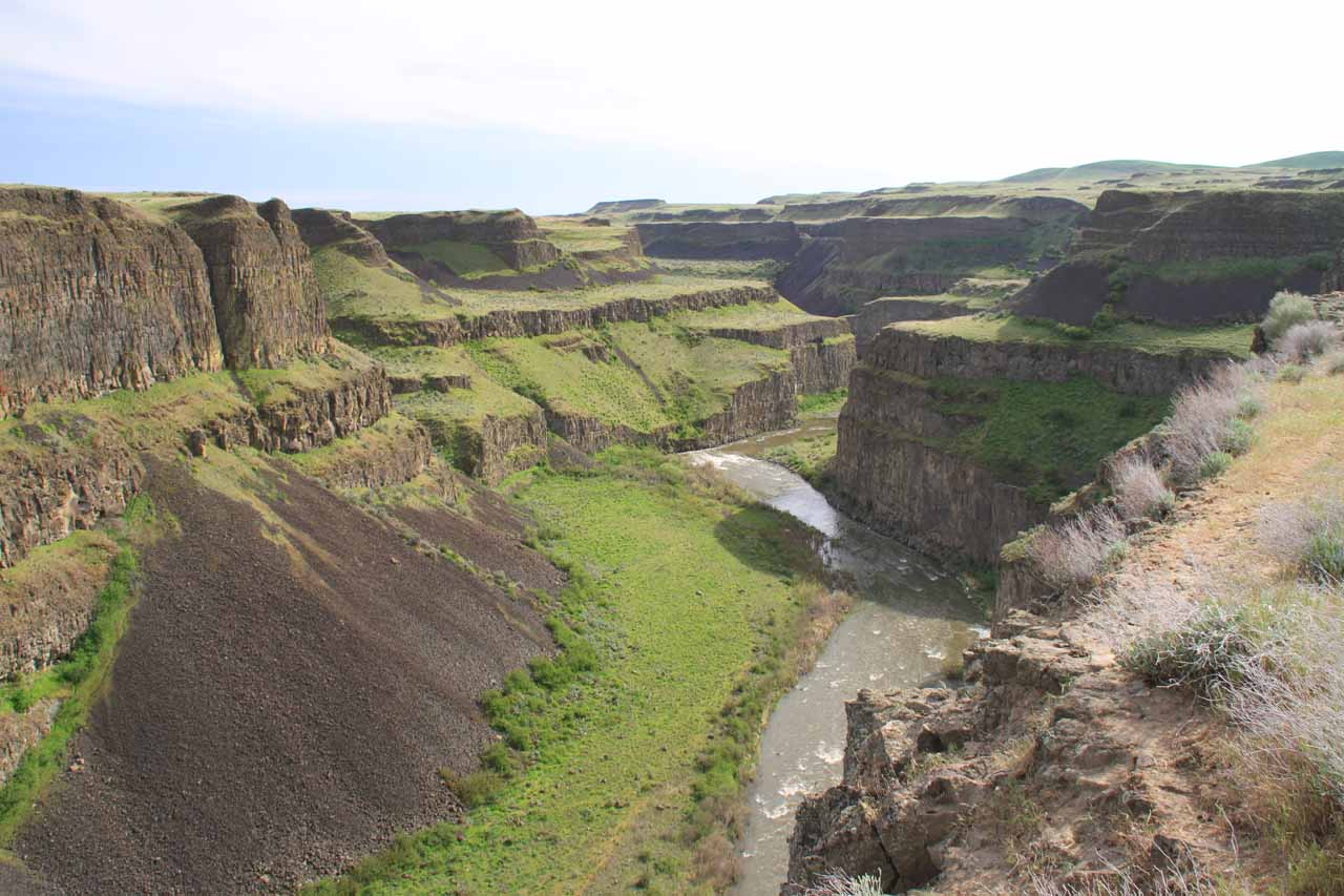 Looking downstream at the attractive canyon from Palouse Falls